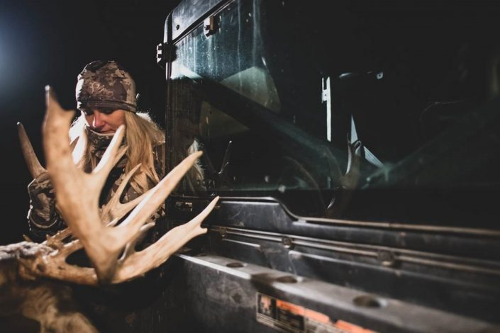 woman with deer kill