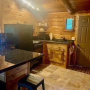 kitchen inside wolf cabin