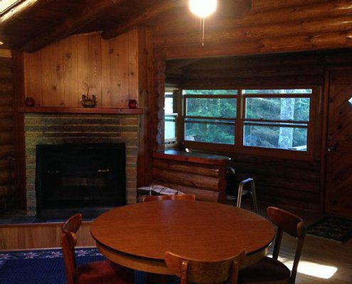 Bear Cabin Dining Table and Fireplace