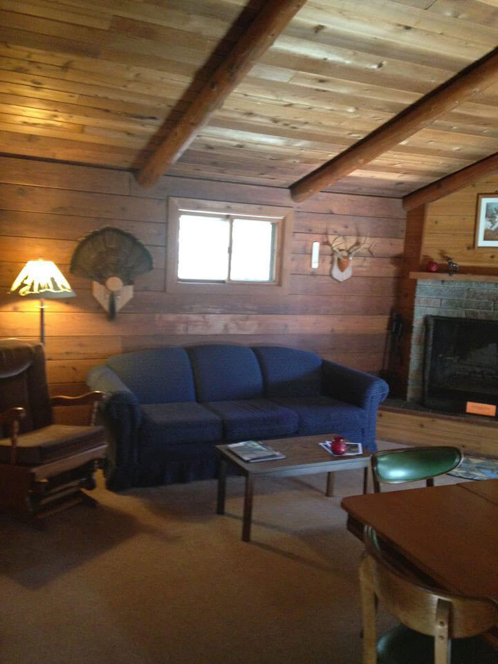Wolf Cabin Living Room and Fireplace
